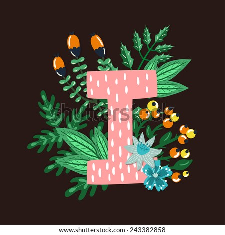 Vector floral letter made from leaves, branches, berries and flowers. Bright botanical alphabet. Vintage hand drawing character. Letter I. - stock vector