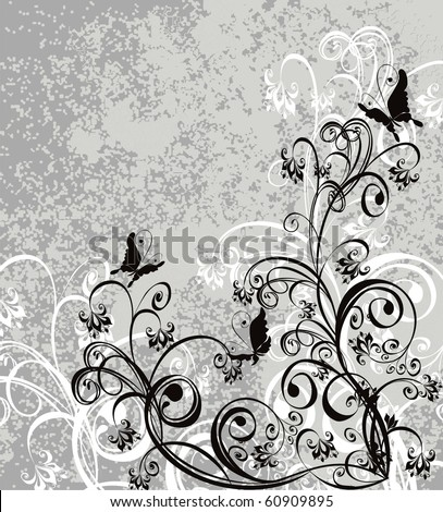 Vector floral ornament on dirty grey background - stock vector