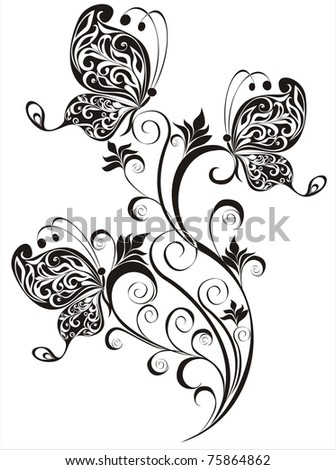 vector floral ornament with butterfly, element for design - stock vector