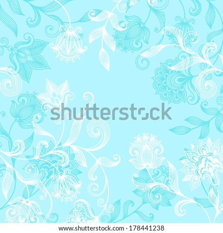 Vector floral ornate background with decorative flowers