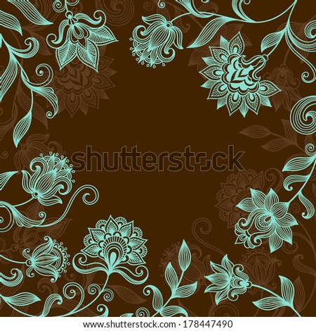 Vector floral ornate background with decorative flowers - stock vector