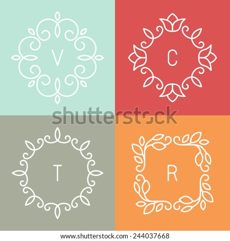 Vector floral outline frames and borders - abstract logo design templates for spa, floral shops and cosmetics - stock vector