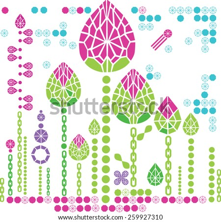 Vector floral pattern from diamond design elements - stock vector