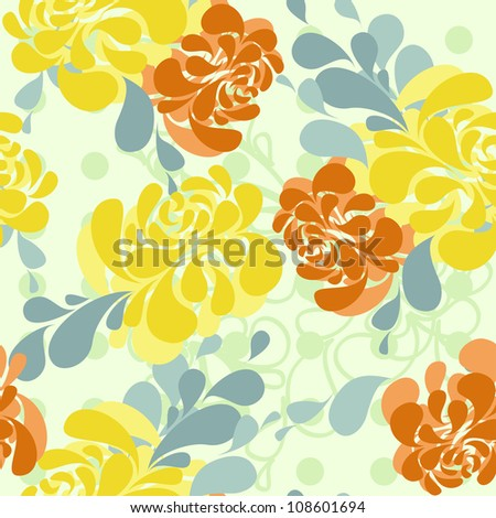 vector floral pattern in bright colors - stock vector