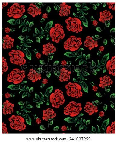 Vector Floral PatternWallpaper Or Textile Red Roses Isolated On Black BackgroundUkrainian