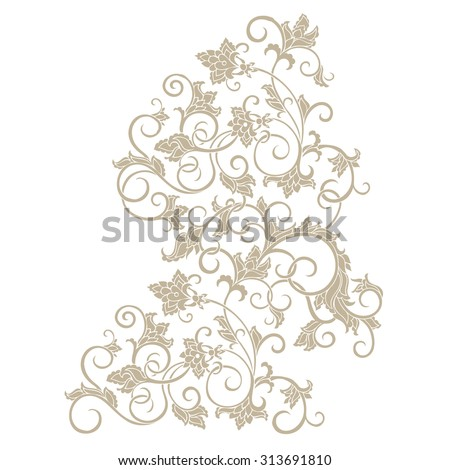 Vector floral pattern with baroque ornamental elements. Beautiful design element. Can be used for cards, invitations, fabrics, wallpapers, scrap-booking, ornamental template for design and decoration. - stock vector