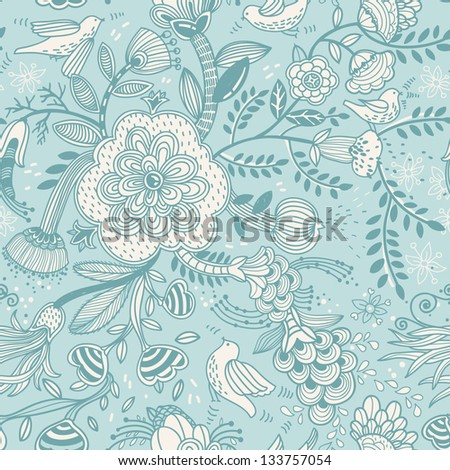 vector floral pattern with flowers and birds on a bright blue background