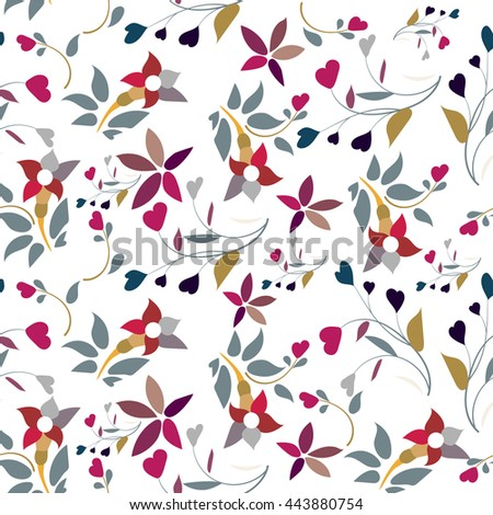 Vector floral pattern  with flowers and leaves. Gentle, spring floral background.