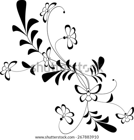 Vector floral picture white-black ornament