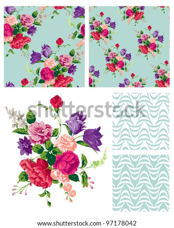 Vector Floral Repeat Patterns.  Use to print onto fabric or create stylish backgrounds for interior projects. - stock vector