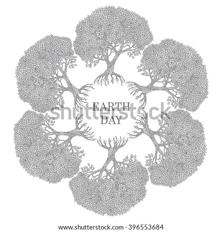 Vector floral round vignette frame from wreath of old fruit tree on a light background. Hand drawn doodle sketch. Arbor Day, Earth Day invitation, greeting card, logo, emblem design. Black and white - stock vector