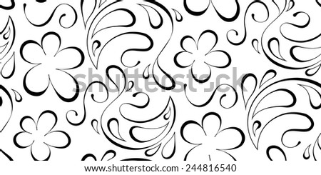 Vector floral seamless background. Black pattern on a white background - stock vector