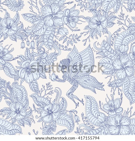 Vector floral seamless fairy pattern.Exotic flowers, leaves.Dark indigo blue contour thin drawing. Light beige background.Fantastic butterfly woman silhouette with teapot, blooming garden.Batik paint - stock vector