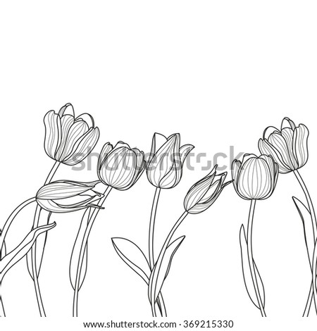 Vector floral seamless horizontal pattern. Black and white elegant background with hand drawn tulip flowers. Design for beauty salon, flyer, invitation, banner, spring greeting cards.