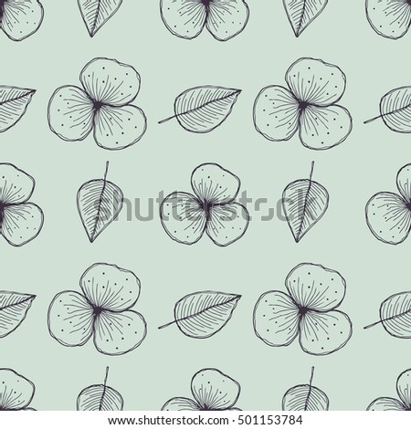 Vector floral seamless pattern. Blue background with flowers, leaves. Hand drawn contour lines and strokes. Graphic vector illustration