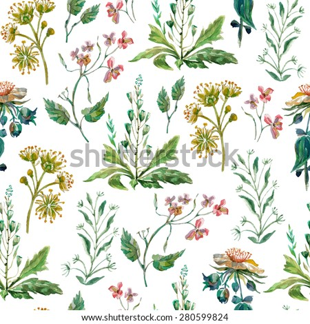 Vector floral seamless pattern. Colorful floral pattern with wild flowers on a white background, drawing watercolor - stock vector