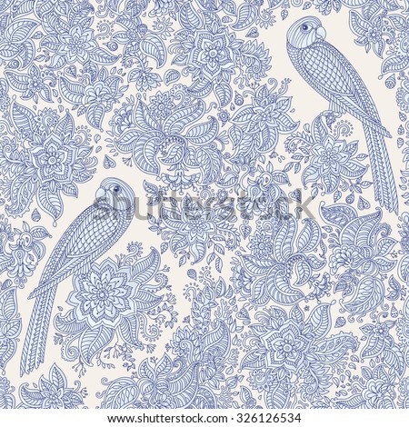 Vector floral seamless pattern. Exotic bird with fantastic flowers, leaves. Light blue grey fairy parrot silhouette in the jungle on a beige background. Textile bohemian style print. Batik painting - stock vector