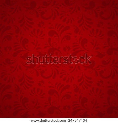 Vector Floral Seamless Pattern, Subtle Red Background - stock vector