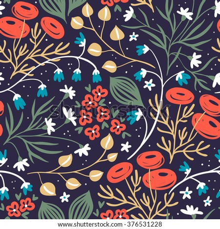 vector floral seamless pattern with abstract blooming roses and plants - stock vector