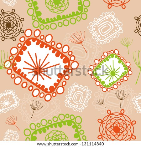 Vector floral seamless pattern with abstract flowers. - stock vector