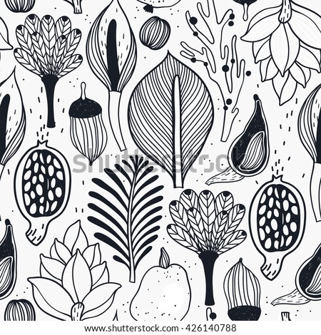 vector floral seamless pattern with abstract linear floral elements - stock vector