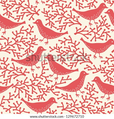 vector floral seamless pattern with abstract  red birds - stock vector