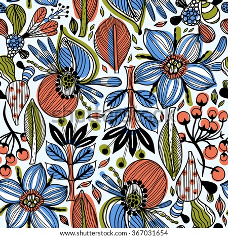 vector floral seamless pattern with abstract stylized plants and leaves - stock vector