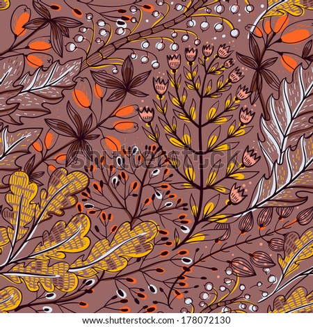 vector floral seamless pattern with autumn herbs and leaves - stock vector