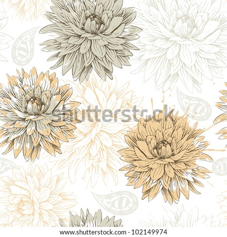 vector floral seamless pattern with beige flowers - stock vector
