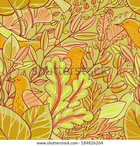 vector floral seamless pattern with birds and leaves - stock vector