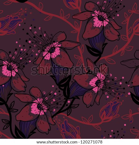 vector floral seamless pattern with blooming apple tree - stock vector