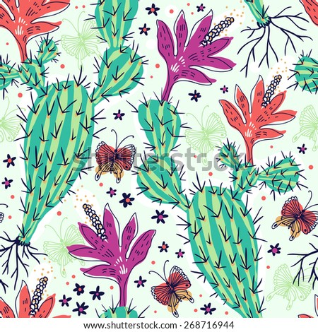 vector floral seamless pattern with blooming cactus and colored butterflies - stock vector