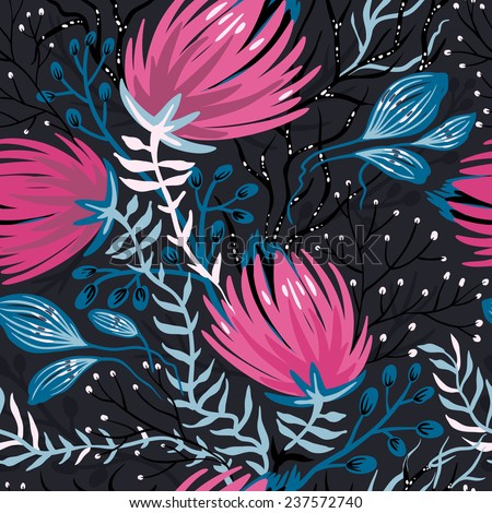 vector floral seamless pattern with blooming exotic flowers and plants on a black background