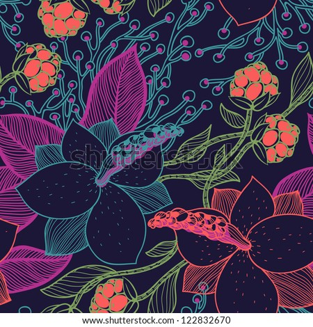 vector floral seamless pattern with blooming magnolia - stock vector