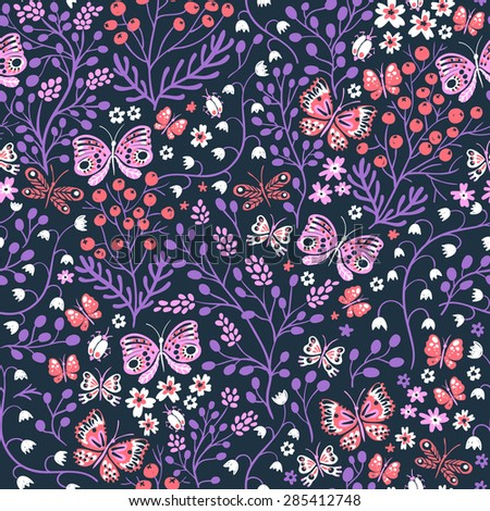 vector floral seamless pattern with blooms and butterflies - stock vector