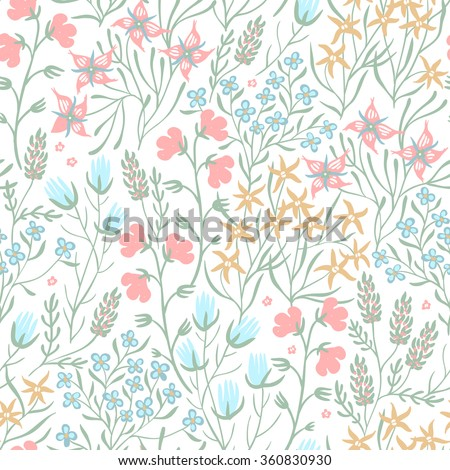vector floral seamless pattern with bright summer herbs and flowers