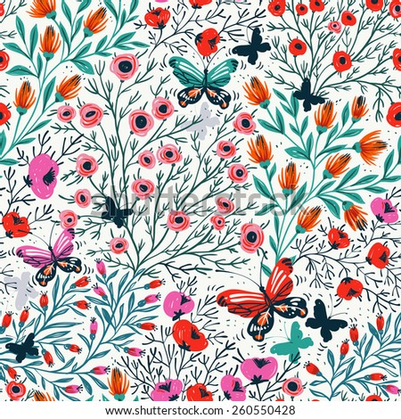 vector floral seamless pattern with colorful flowers and butterflies - stock vector