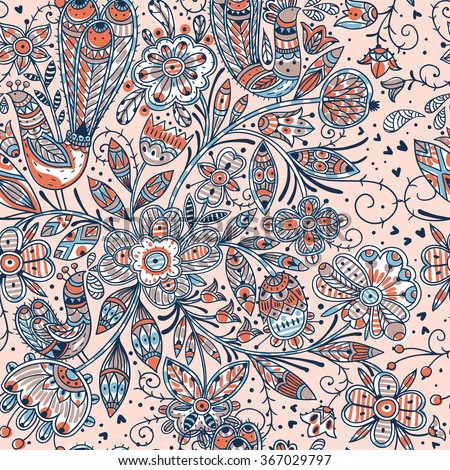 vector floral seamless pattern with colorful folk flowers and birds