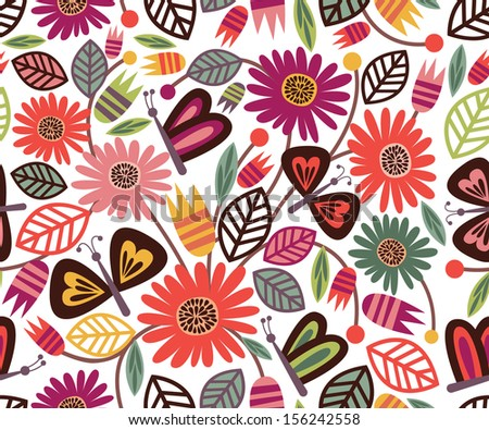 Vector Floral Seamless Pattern with Cute Butterflies on Bright Background, Ideal for Fabric Designs and Wallpapers - stock vector