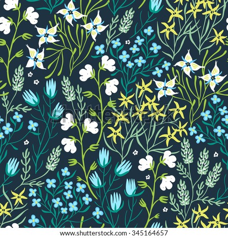 vector floral seamless pattern with decorative summer plants and flowers