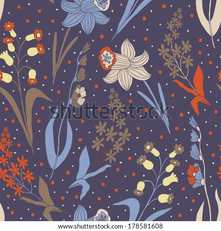 Vector floral seamless pattern with different flowers on the dark background - stock vector