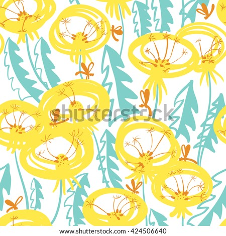 Vector floral seamless pattern with doodle dandelions and dragonfly - stock vector