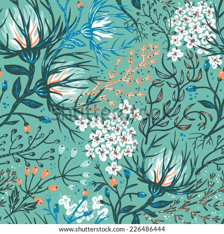 vector floral seamless pattern with exotic flowers and plants - stock vector