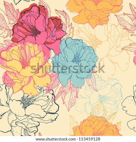 vector floral seamless pattern with fantasy blooming roses - stock vector