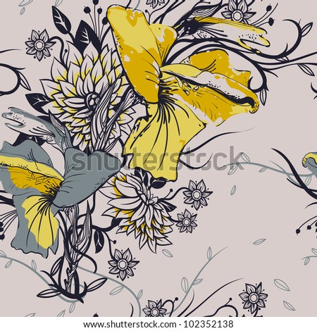 vector floral seamless pattern with grey and yellow gladioluses - stock vector