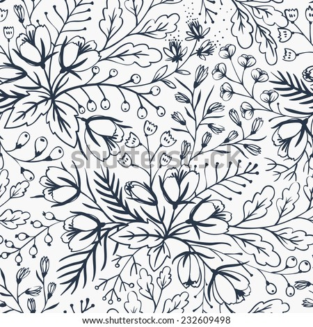 vector floral seamless pattern with hand drawn blooming flowers - stock vector