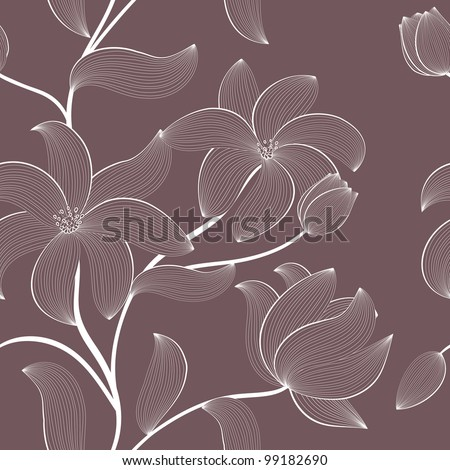 Vector floral seamless pattern with hand-drawn flowers - stock vector