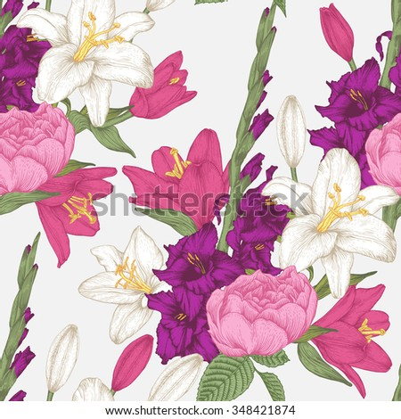 Vector floral seamless pattern with hand drawn gladiolus flowers, lilies and roses in vintage style - stock vector