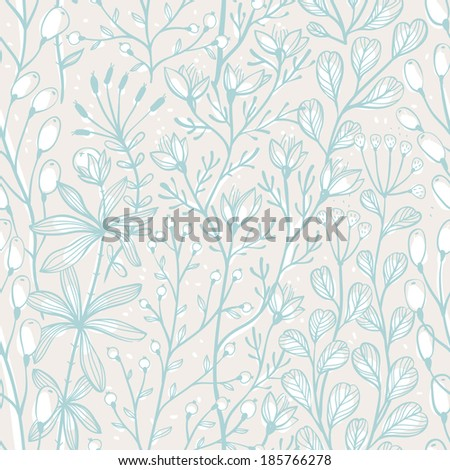 vector floral seamless pattern with hand drawn herbs - stock vector