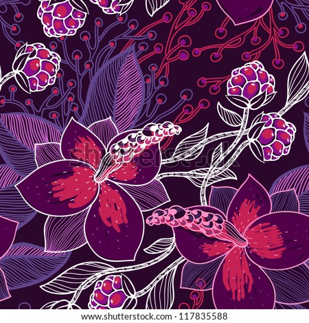 vector floral seamless pattern with  magnolia flowers and berries - stock vector